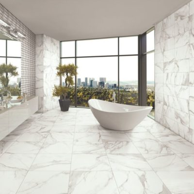 gres porcellanato effetto marmo calacatta - bagno