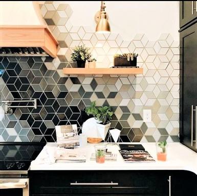 rivestimento geometrico per la cucina