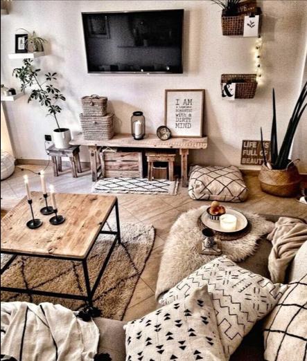 salotto in legno stile bohemien