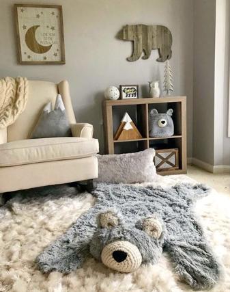 tappeto a forma di orso per una nursery