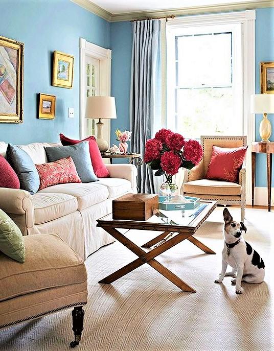 tavolino in legno e vetro con cagnolino