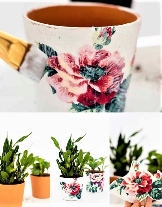 decorazione su vaso con decoupage