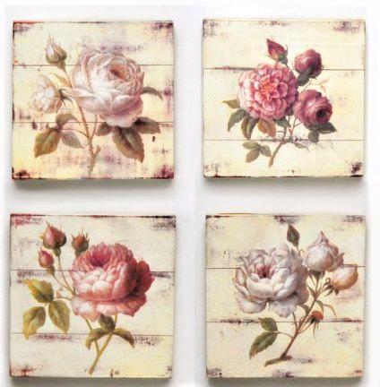 quadretti con decoupage a fiori