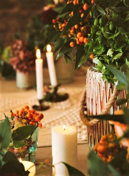 candele in stile autunnale