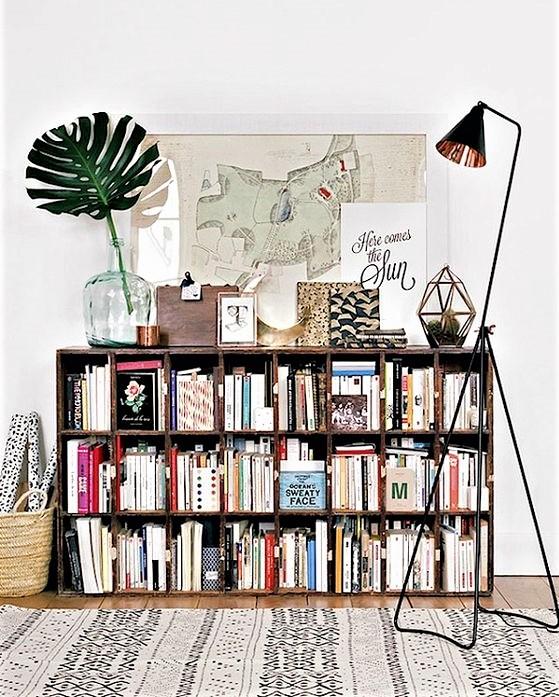 libreria da terra con foglia e lampada
