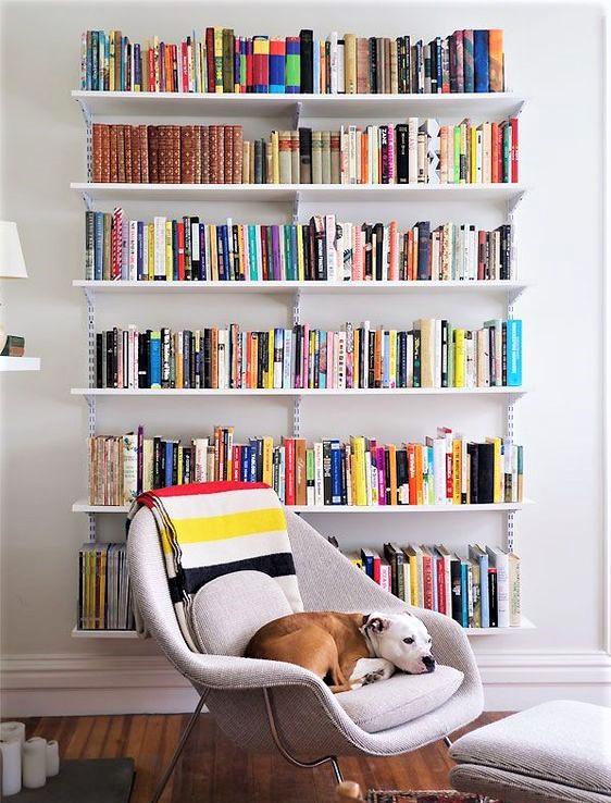 poltroncina moderna con coperta a righe e libreria