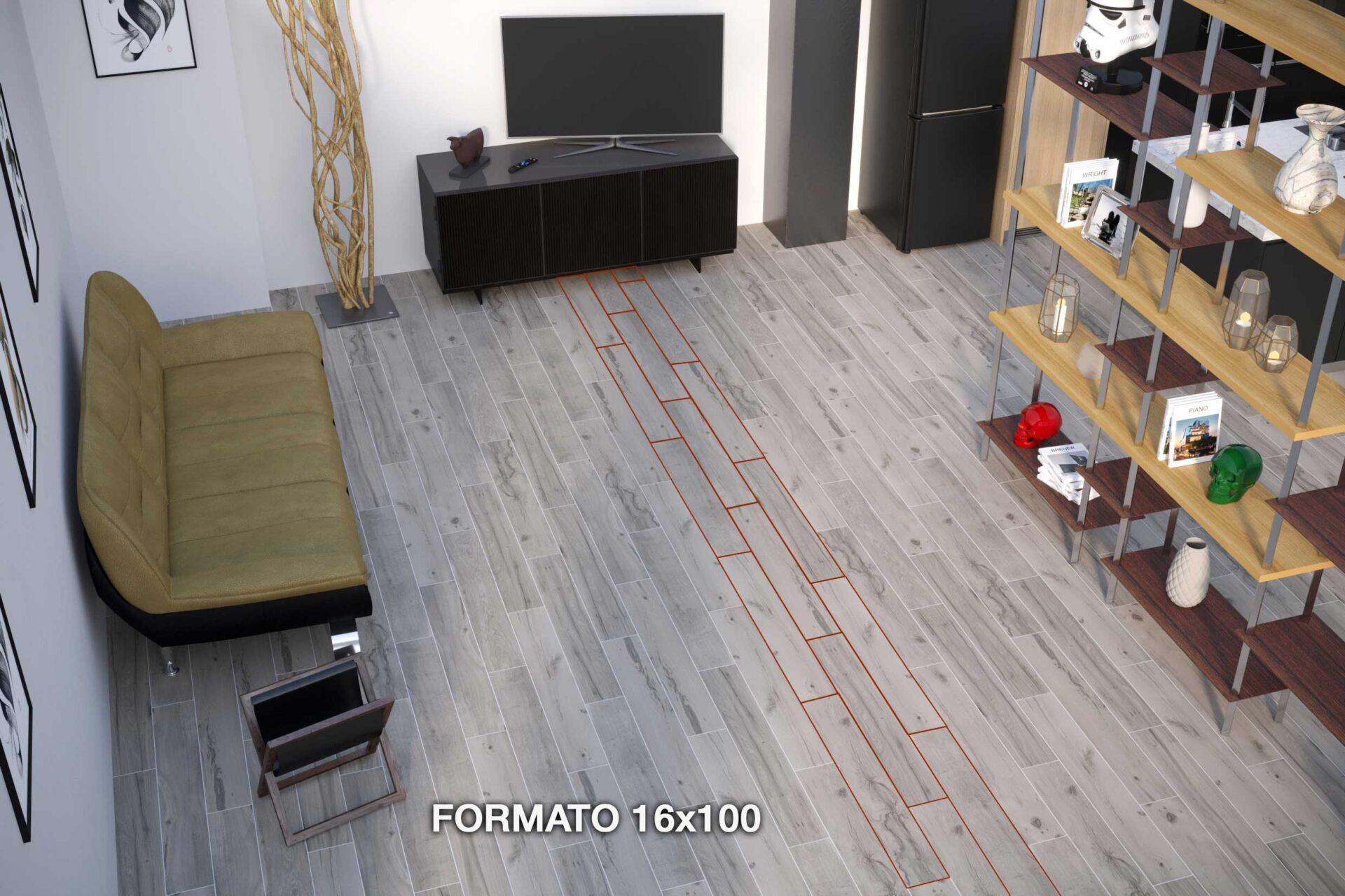 gres effetto legno posato 16x100 cm