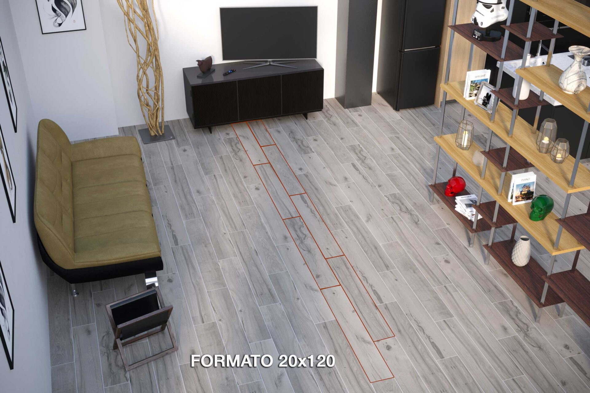 gres effetto legno posato 20x120 cm